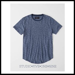 A&F Floral Curved Hem Crew Tee in Blue Floral
